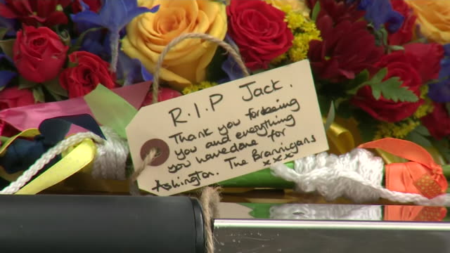 exterior shots of wreaths floral tributes and notes to jack charlton in hearse on 22 july 2020 in ashington united kingdom - jack charlton stock videos & royalty-free footage