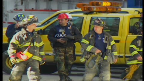 exterior shots of wreckage of the twin towers at ground zero as firefighters, police and construction workers walk at the scene on september 16, 2001... - wrack stock-videos und b-roll-filmmaterial