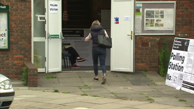 Exterior shots of young people arriving to vote at a polling station on June 08 2017 in London England