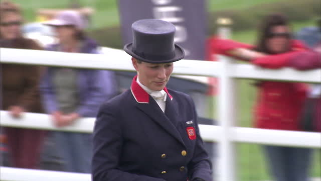 Exterior shots of Zara Phillips riding High Kingdom horse in the dressage phase at the Barbury Horse Trials Zara Phillips Riding High Kingdom in the...