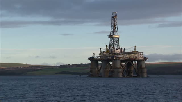 exterior shots oil drilling rig anchored in the cromarty firth on january 28 2016 in cromarty scotland - drill stock videos & royalty-free footage
