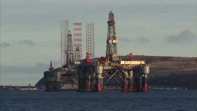 exterior shots oil drilling rigs anchored in the cromarty firth on january 28 2016 in cromarty scotland - oil exploration platform stock videos & royalty-free footage