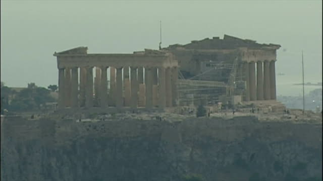 exterior shots olympic rings acropolis and wide shot over athens on august 28 2004 in athens greece - acropolis athens stock videos & royalty-free footage