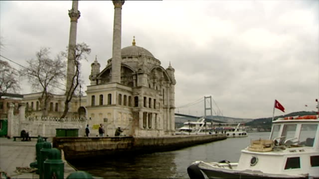 exterior shots ortakoy mosque on bosphorus shore men fishing on november 09 2006 in istanbul turkey - ortakoy mosque stock videos and b-roll footage