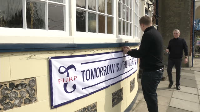 exterior shots ot the new inn pub in sandwich, kent, with al murray's campaign banner, 'tomorrow is in the future' outside on march 13, 2015 in... - al murray stock videos & royalty-free footage