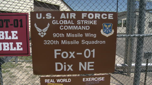 exterior shots outside fe warren us air force base an active nuclear weapons bunker including a sign warning that deadly force is authorized on 1... - sand pit stock videos and b-roll footage