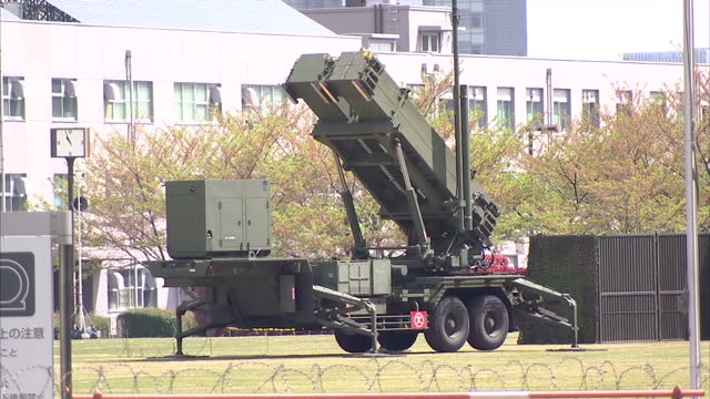 exterior shots patriot missiles stationed on grounds ministry of defence in ichigaya tokyo patriot missiles in tokyo on april 15 2013 in tokyo japan - 2013年 北朝鮮の核実験点の映像素材/bロール