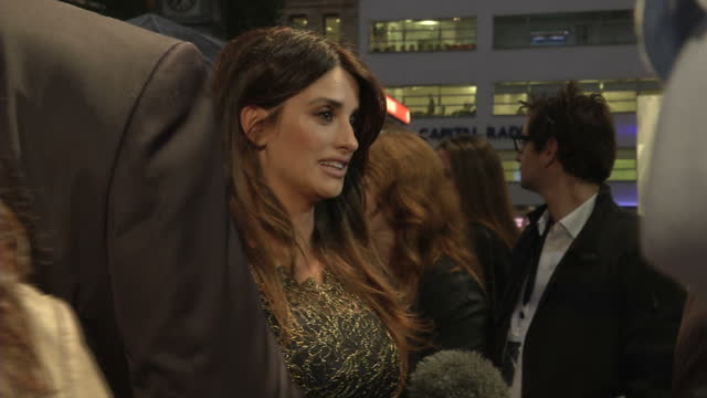 exterior shots penelope cruz actress speaking to journalists on the red carpet for the premiere of the counselor based on an original screenplay by... - brad pitt actor stock videos and b-roll footage