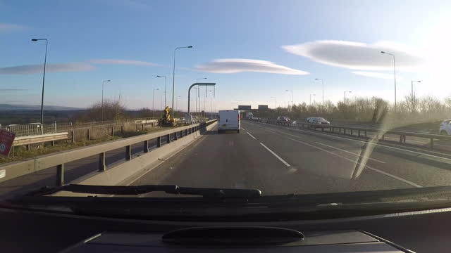 exterior shots point of view from travelling car on motorway towards leeds on march 16 2016 near leeds england - west yorkshire stock-videos und b-roll-filmmaterial