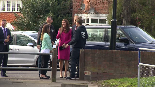 Exterior shots pregnant Catherine Duchess of Cambridge and Prince William Duke of Cambridge arriving at XLP Mobile recording Studio on March 27 2015...