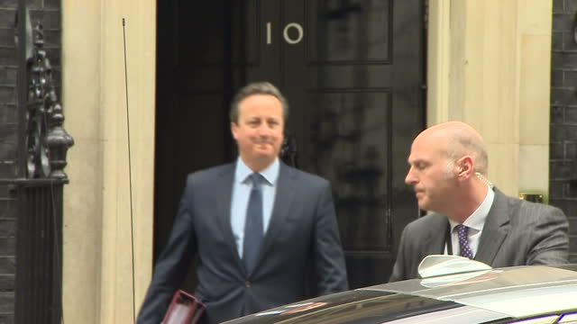 Exterior shots Prime Minister David Cameron Departs Downing Street on Budget Day on March 16 2016 in London England