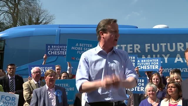 exterior shots prime minister david cameron leader of conservative party addressing crowd outside christleton high school on april 20 2015 in chester... - chester england stock videos and b-roll footage