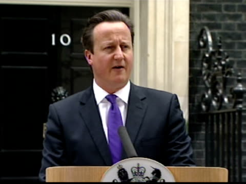 exterior shots prime minister david cameron press conference at number 10 downing street about the murder of lee rigby mr cameron says thoughts are... - lee rigby stock videos & royalty-free footage