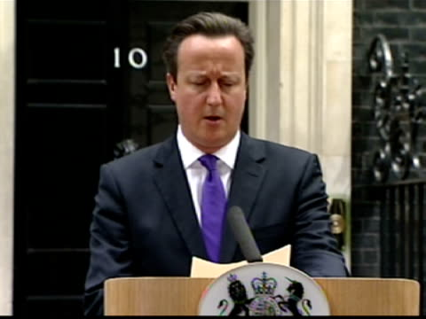exterior shots prime minister david cameron press conference at number 10 downing street about the murder of lee rigby mr cameron says the incident... - lee rigby stock videos & royalty-free footage