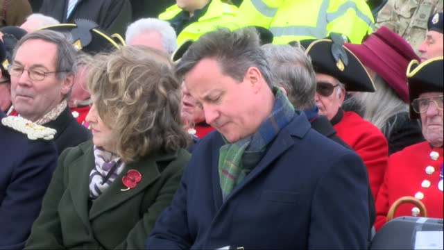 exterior shots prime minister david cameron sitting next to sarah montgomery at the national memorial arboretum exterior shots side view prime... - the victoria cross stock-videos und b-roll-filmmaterial