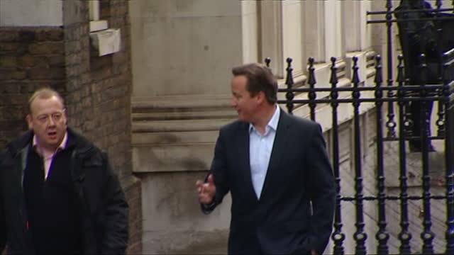 Exterior shots Prime Minister David Cameron walk to 10 Downing Street David Cameron Heads COBRA Meeting on May 24 2013 in London England