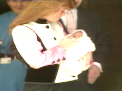 Exterior shots Prince Andrew Duke of York and Sarah Duchess of York depart Portland Hospital with newborn baby Royal Baby Archive at Portland...