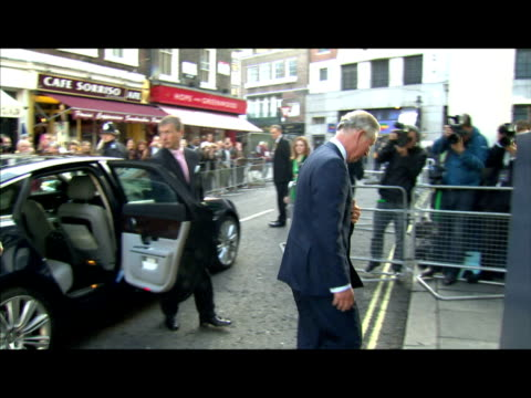 exterior shots prince charles arrives at the premiere of shrek the musical at the theatre royal on drury lane interior shots prince charles chats... - prince stock videos and b-roll footage