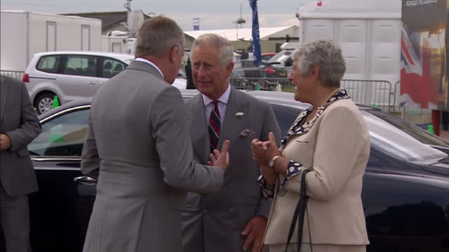 exterior shots prince charles arriving at raf fairford being greeted by guests on july 11 2014 in fairford england - raf fairford stock videos and b-roll footage