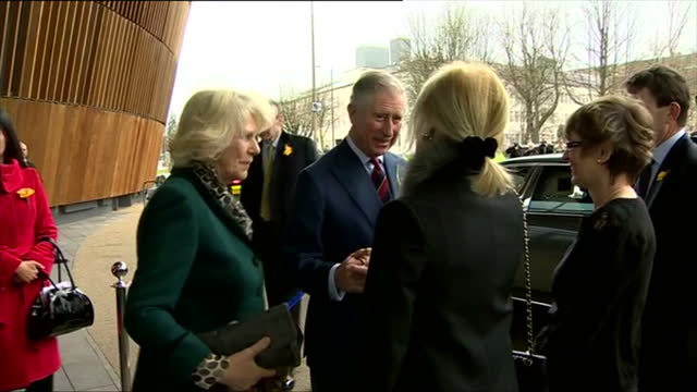 exterior shots prince charles camilla depart the royal welsh college of music drama prince charles camilla leave music school on march 01 2013 in... - cardiff wales stock videos & royalty-free footage