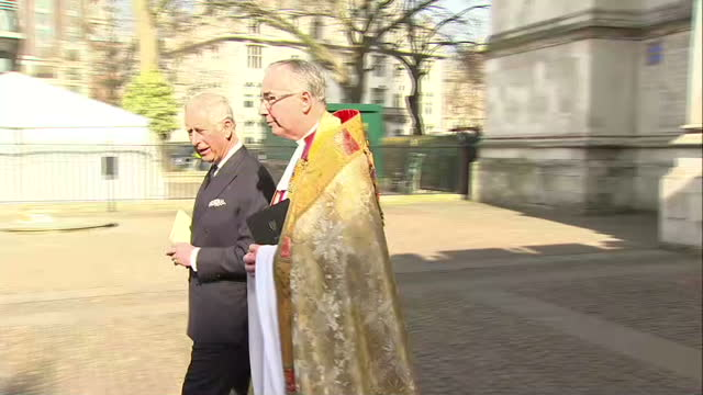 exterior shots prince charles camilla departing westminster abbey on march 13 2014 in london england - memorial event stock videos and b-roll footage