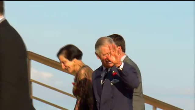 Exterior shots Prince Charles Camilla Duchess of Cornwall arrive at the Sydney Opera House climbing the steps greeting dignitaries Charles Camilla at...