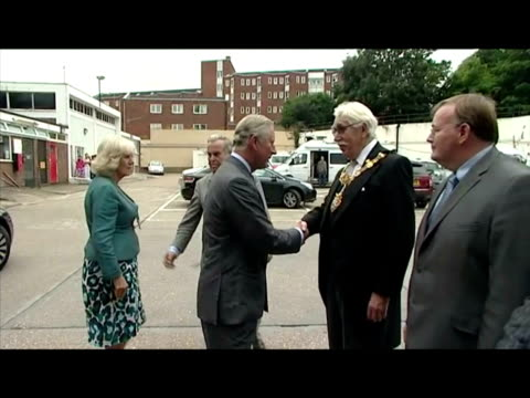 exterior shots prince charles camilla duchess of cornwall greet the mayor of croydon interior shots charles camilla meet l chat with local police... - croydon england stock videos & royalty-free footage