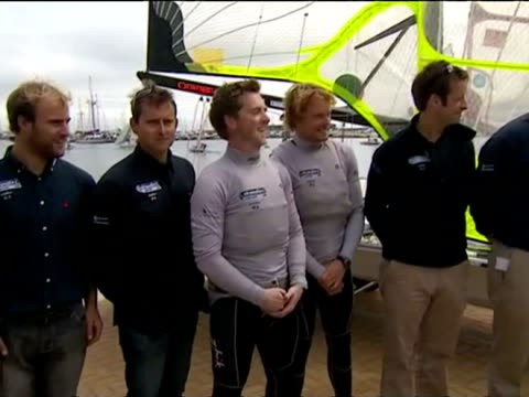 exterior shots prince charles meets chats with team gb sailing team for the london 2012 olympics at the weymouth portland national sailing academy... - national team stock videos & royalty-free footage