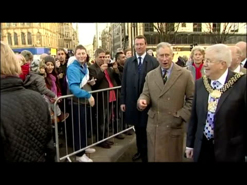 exterior shots prince charles meets members of the public well wishers before walking over to look at a protrait of himself knitted from wool... - wool gathering stock videos & royalty-free footage