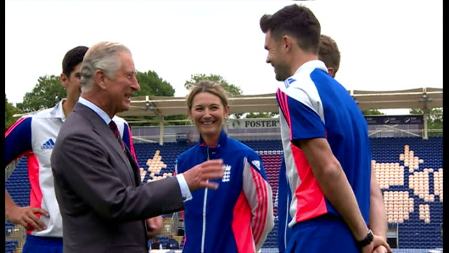 stockvideo's en b-roll-footage met exterior shots prince charles talking with england cricketers jos buttler and james anderson, england cricket captain alistair cook and england... - atlete