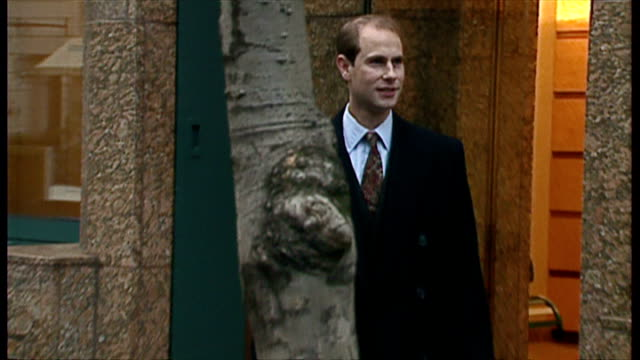 exterior shots prince edward arrive at ariel house to begin work at ardent television. on 1st december 1993 in london, england. - prince edward, earl of wessex stock videos & royalty-free footage
