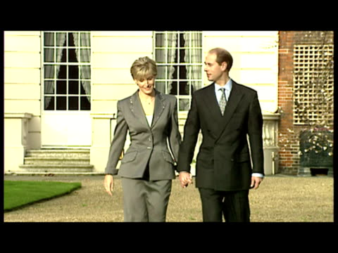 exterior shots prince edward sophie rhys jones engagement photo call posing for press kiss shots of the ring prince edward sophie rhys jones... - photo call stock videos & royalty-free footage
