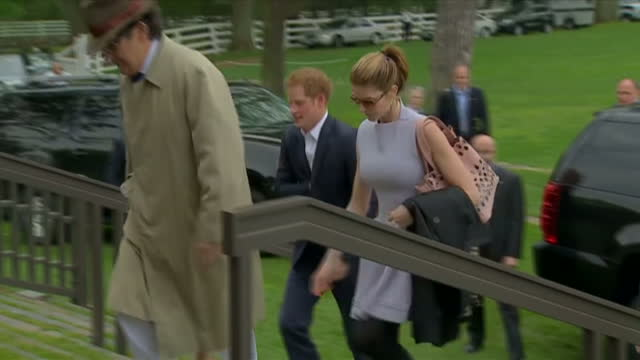 Exterior shots Prince Harry arrives at Greenwich Polo Club is greeted by Peter Brant founder Prince Harry arrives at Greenwich Polo Club on May 15...