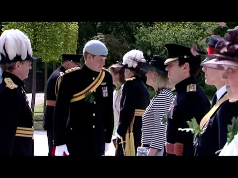 exterior shots prince harry dressed in the uniform of the blues royals greets dignitaries staff at the royal hospital chelsea prince harry visits the... - uniform stock videos & royalty-free footage
