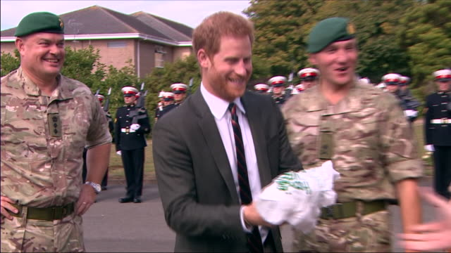 exterior shots prince harry duke of sussex visiting the royal marines commando training centre on september 13 2018 in lympstone united kingdom - army stock videos & royalty-free footage