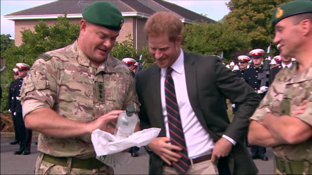 exterior shots prince harry, duke of sussex visiting the royal marines commando training centre on september 13, 2018 in lympstone, united kingdom. - royal marines stock videos & royalty-free footage