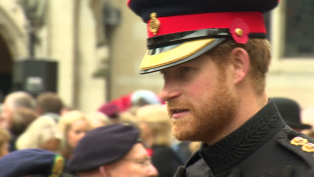 exterior shots prince harry talking with veterans at field of remembrance wreathlaying ceremony prince harry with beard on november 05 2015 in london... - remembrance sunday stock videos and b-roll footage