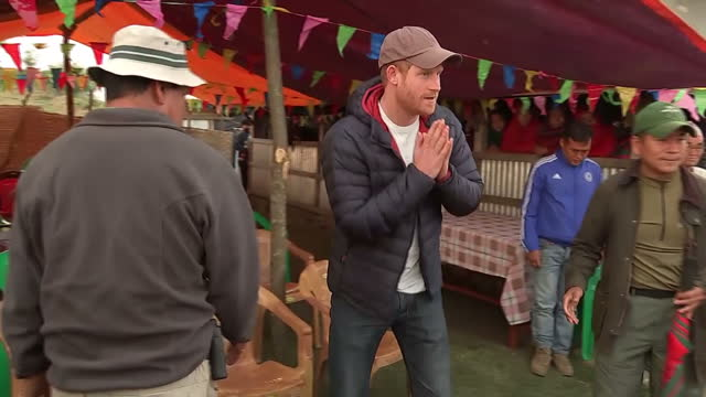 exterior shots prince harry visiting village of leorani in the himalayan foothills on march 21, 2016 in leorani , nepal. - nepal stock videos & royalty-free footage