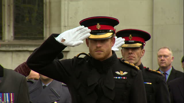 exterior shots prince philip duke of edinburgh and prince harry lay crosses on visit to the fields of remembrance at westminster abbey on november 10... - remembrance sunday stock videos and b-roll footage