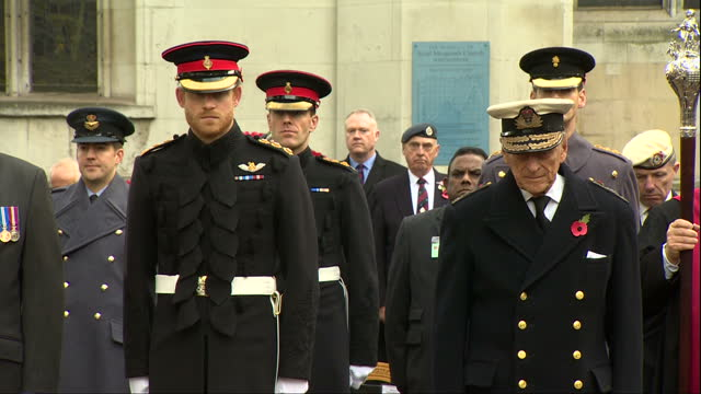 exterior shots prince philip, duke of edinburgh and prince harry on visit to the fields of remembrance at westminster abbey. on november 10, 2016 in... - remembrance day stock videos & royalty-free footage
