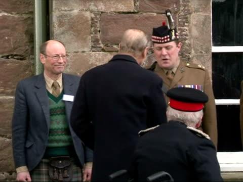exterior shots prince philip, duke of edinburgh arrives at the highlanders museum duke of edinburgh opens highlanders museum on march 26, 2013 in... - inverness scotland stock videos & royalty-free footage