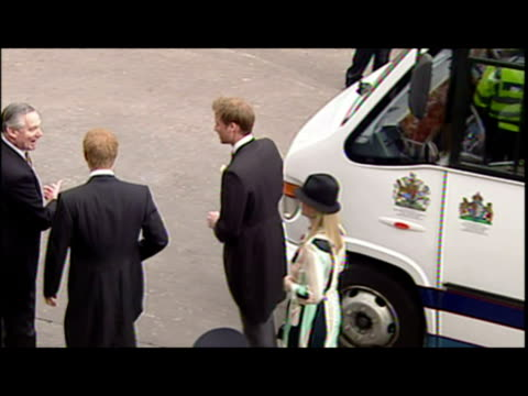 exterior shots prince wililam, prince harry & zara phillips arriving at the wedding of prince charles & camilla parker bowles. prince charles &... - コーンウォール公爵夫人 カミラ点の映像素材/bロール