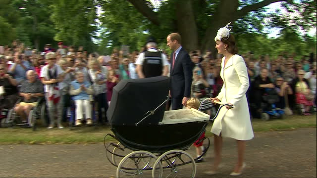 exterior shots prince william and catherine duchess of cambridge arrive at church of st mary magdalene for christening of princess charlotte of... - baptism stock videos & royalty-free footage