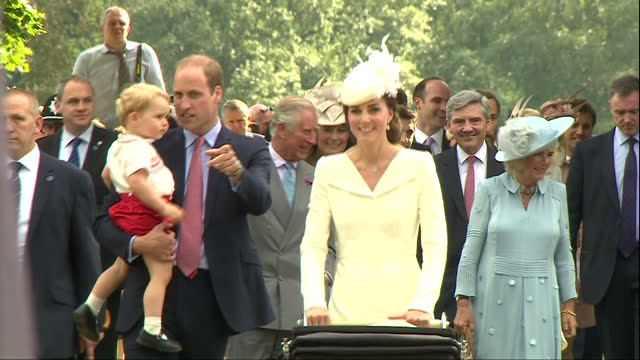 exterior shots prince william and catherine duchess of cambridge walking past crowds after christening of princess charlotte of cambridge prince... - baptism stock videos & royalty-free footage