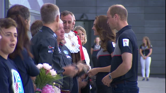exterior shots, prince william and kate middleton greet team land rover bar officials. - land rover stock videos & royalty-free footage