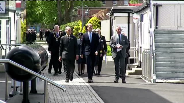 exterior shots prince william duke of cambridge arrives at royal navy submarine museum and walks into alliance centre building on may 12 2014 in... - gosport stock videos & royalty-free footage