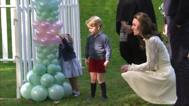 Exterior shots Prince William Duke of Cambridge Catherine Duchess of Cambridge Prince George of Cambridge and Princess Charlotte of Cambridge attend...