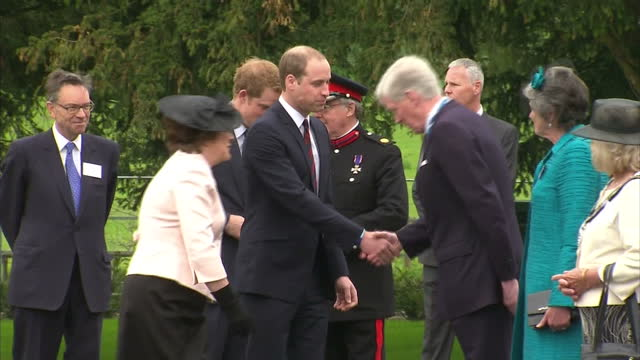 exterior shots prince william, duke of cambridge, & prince harry, captain wales, arrive at the help for heroes recovery centre & greet officials.... - tidworth stock videos & royalty-free footage