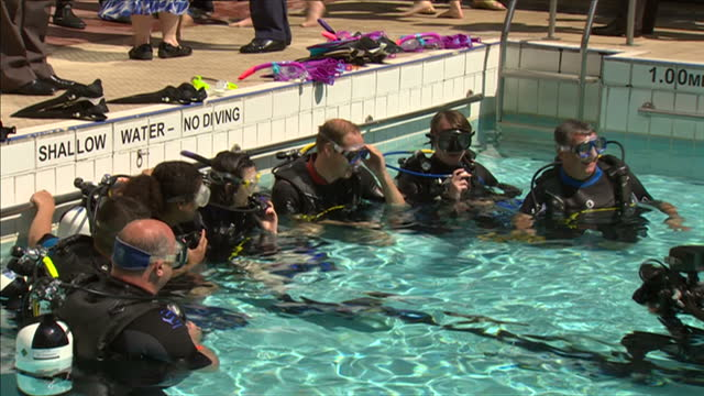 exterior shots prince william in swimming pool with other divers. on july 09, 2014 in london, england. - other stock videos & royalty-free footage