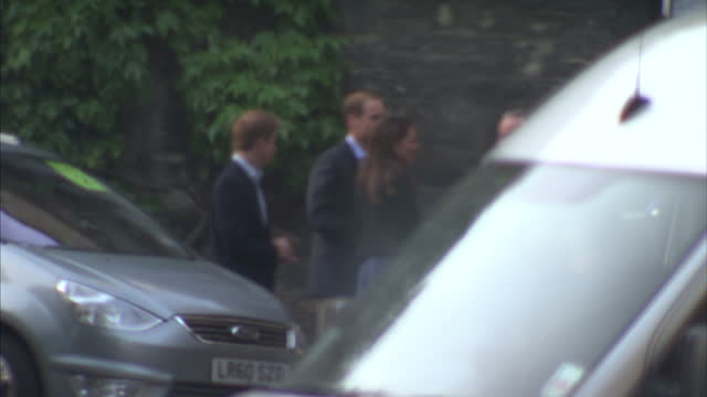 exterior shots prince william kate middleton arrive for royal wedding rehearsal followed by prince harry kate's parents kate william arrive for royal... - rehearsal stock videos and b-roll footage